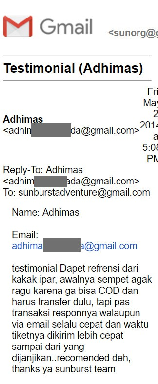 testimonial sunburst adventure